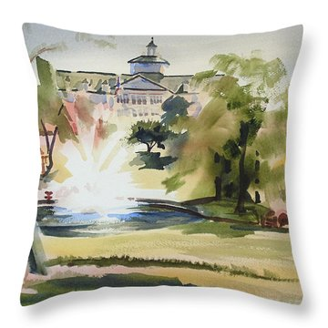 Crisp Water Fountain At The Baptist Home  Throw Pillow by Kip DeVore