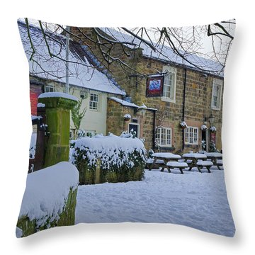 Crispin Inn At Ashover Throw Pillow by David Birchall