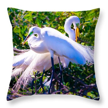 Criss-cross Egrets Throw Pillow