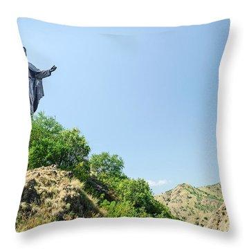 Cristo Rei Statue Near Dili East Timor Timor Leste Throw Pillow