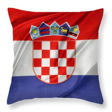 Croatian Flag Throw Pillow by Les Cunliffe