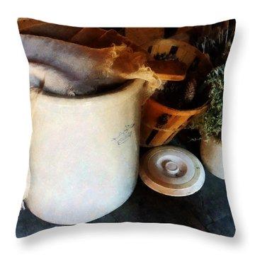 Crock And Basket Throw Pillow by Susan Savad