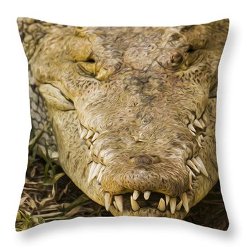 Crocodile Throw Pillow by Aged Pixel