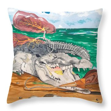 Throw Pillow featuring the painting Crocodile Emphysema by Lazaro Hurtado
