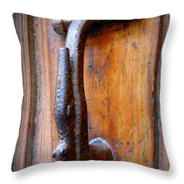 Crocodile Knock Throw Pillow by Lainie Wrightson