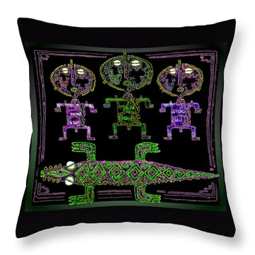 Throw Pillow featuring the drawing Crocodile  Worshippers by Hartmut Jager