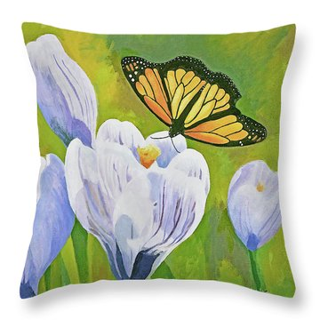 Crocus And Monarch Butterfly Throw Pillow