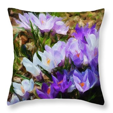 Crocus Fantasy Throw Pillow by David Lane