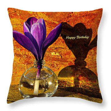 Crocus Floral Birthday Card Throw Pillow