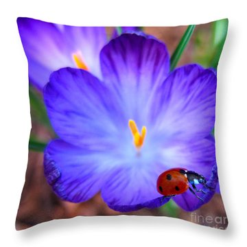 Crocus Flower With Ladybug Throw Pillow by Debra Thompson