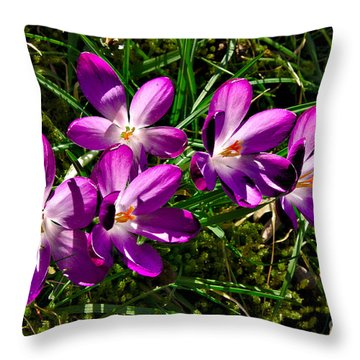 Crocus In The Grass Throw Pillow