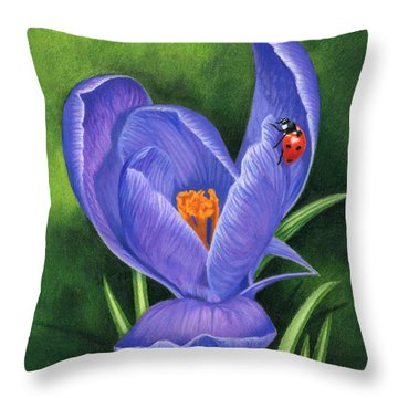 Crocus And Ladybug Throw Pillow