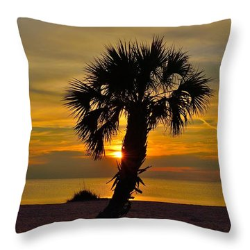 Crooked Palm Sunset Throw Pillow