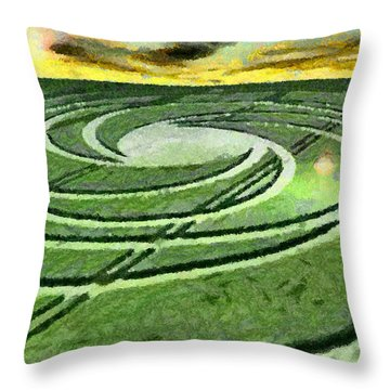Crop Circles In Field Throw Pillow by Georgi Dimitrov