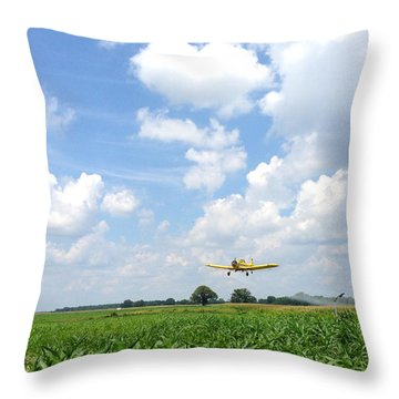 Yellow Crop Duster Throw Pillow