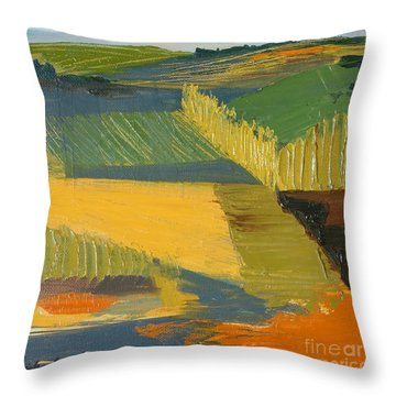 Throw Pillow featuring the painting Crop Fields by Erin Fickert-Rowland