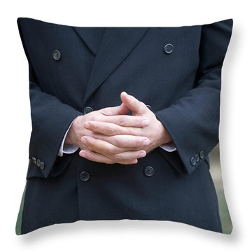Cropped Front View Of A Man In A Dark Throw Pillow