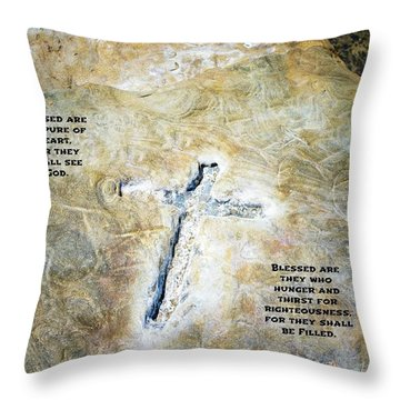 Cross And The Beatitudes Throw Pillow