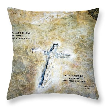 Cross And Words Throw Pillow