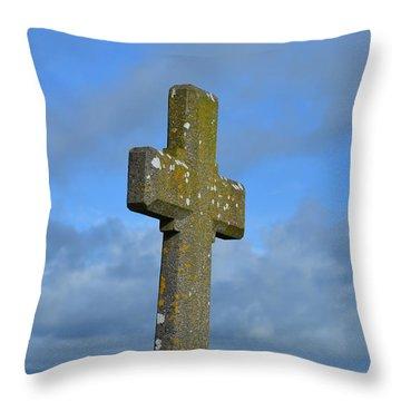 Cross At Cashel Throw Pillow by DejaVu Designs