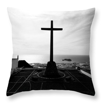 Cross Atop Old Chapel In Village  Throw Pillow