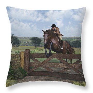 Throw Pillow featuring the digital art Cross Country by Jayne Wilson