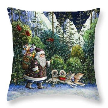 Cross-country Santa Throw Pillow