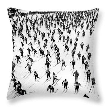 Cross Country Ski Race Throw Pillow