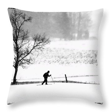 Cross Country Skiier Canaan Valley Throw Pillow by Dan Friend