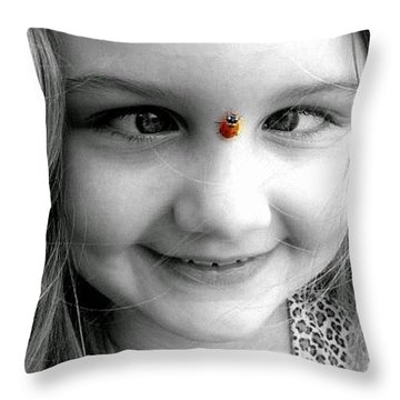 Cross-eyed For Ladybugs Throw Pillow by Faith Williams