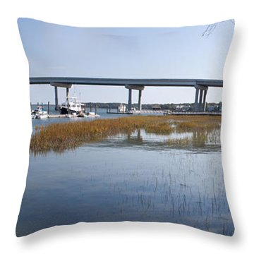 Cross Island Bridge Hilton Head Throw Pillow