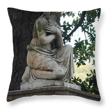 Throw Pillow featuring the photograph I Cross My Heart Angel by Lesa Fine
