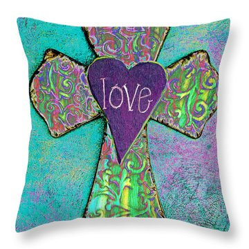 Cross Of Love Throw Pillow by Pattie Calfy