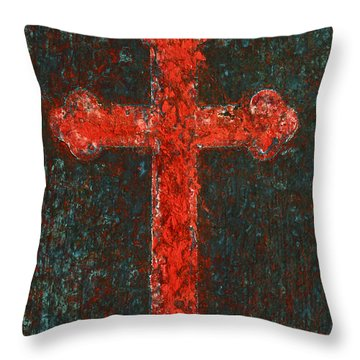 Cross Of Red Throw Pillow
