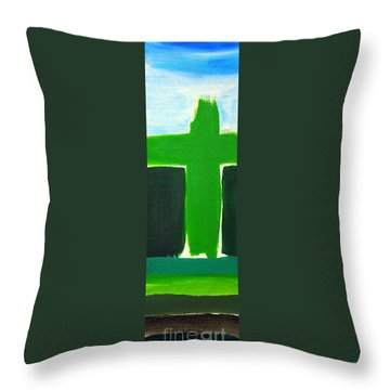 Green Cross On Hill Throw Pillow