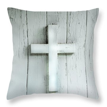 Cross On Holy Angels Sugar Island Michigan Throw Pillow