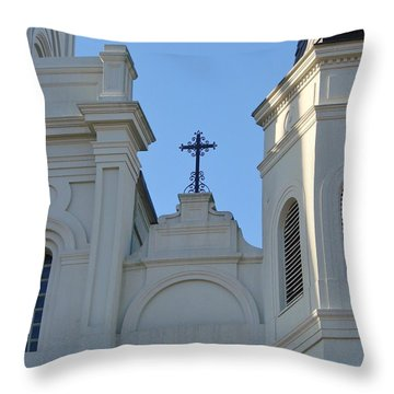 Cross On The Cathedral Throw Pillow by Margaret Bobb