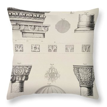 Cross Section And Architectural Details Of Kutciuk Aja Sophia The Church Of Sergius And Bacchus Throw Pillow by D Pulgher