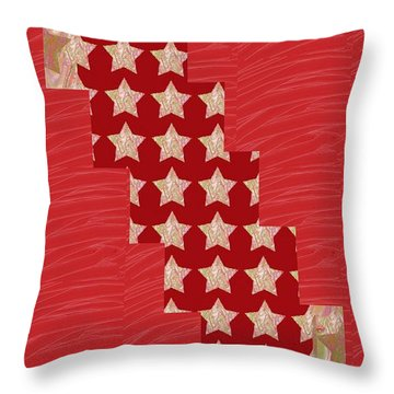 Cross Through Sparkle Stars On Red Silken Base Throw Pillow