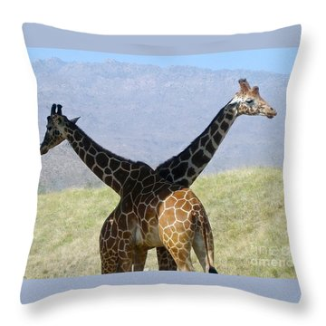 Crossed Giraffes Throw Pillow