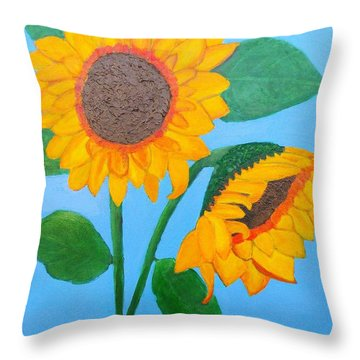 Throw Pillow featuring the painting Crossed Sunflowers by Margaret Harmon