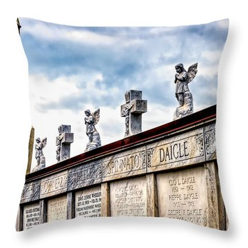 Crosses And Angels Throw Pillow by Kathleen K Parker