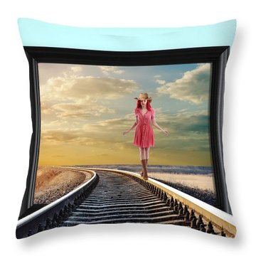 Throw Pillow featuring the digital art Crossing Over by Nina Bradica