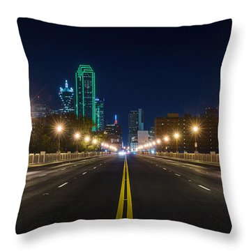 Crossing The Bridge To Downtown Dallas At Night Throw Pillow