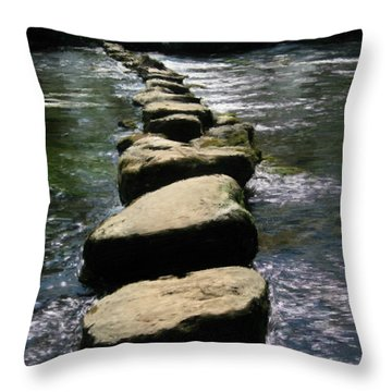 Throw Pillow featuring the painting Crossing The Creek by Bruce Nutting