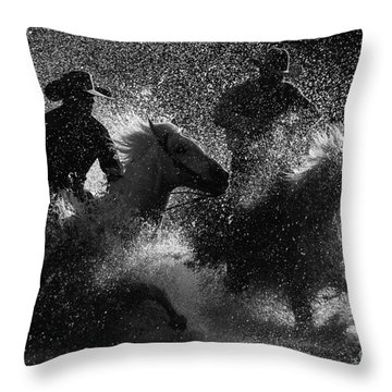 Crossing The River Throw Pillow by Ana V Ramirez