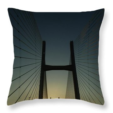 Throw Pillow featuring the photograph Crossing The Severn Bridge At Sunset - Cardiff - Wales by Vicki Spindler