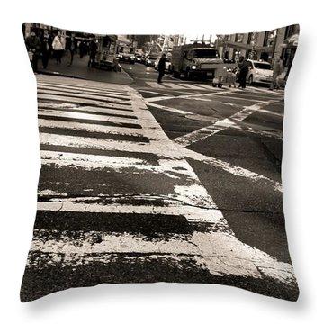 Crosswalk In New York City Throw Pillow by Dan Sproul