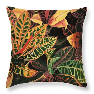 Croton Leaves Throw Pillow by Judy Swerlick