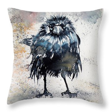 Crow After Rain Throw Pillow